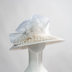 White / Cream Polka Dot Fabric Hats