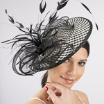 Buntal Straw Feather Bow Headband Fascinator Cocktail Hats