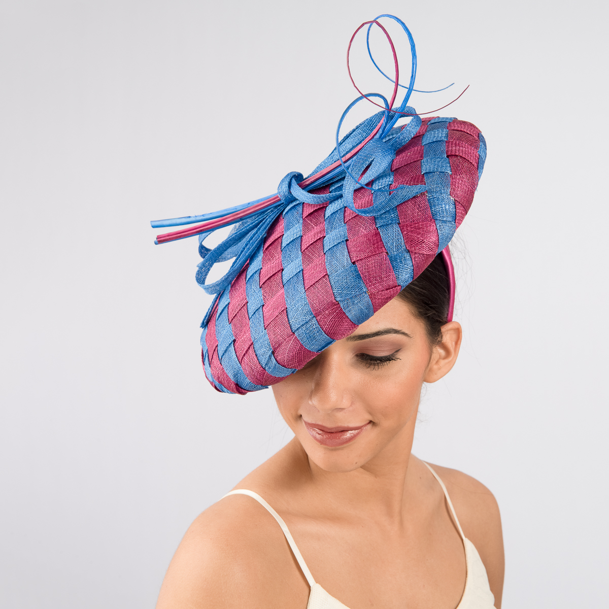 Royal - Geisha Beret Self Bow Headband Fascinator Cocktail  Hats-102029-RY.GS- Sun Yorkos  90d3484a2b9