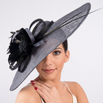 Large Sinamay Saucer Feather Self Bow Headband Fascinator Cocktail Hats
