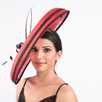 Large Sinamay Saucer Feather And Self Bow Headband Fascinator Cocktail Hats