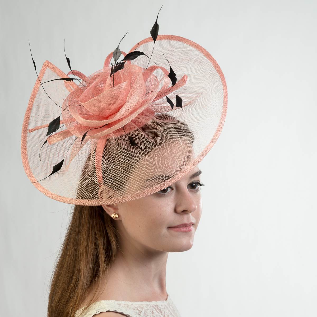 Peach Flower Trimed Sinamay Headband Fascinator Cocktail Hats-102042-PH-  Sun Yorkos  d710acd4790