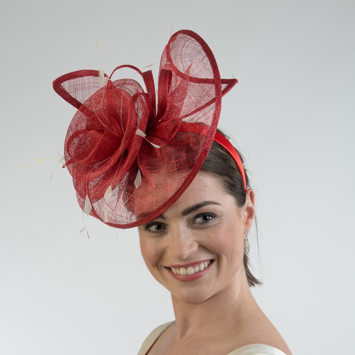 90abc6d65aa81 Dark Red - White Flower Trimed Sinamay Headband Fascinator Cocktail ...