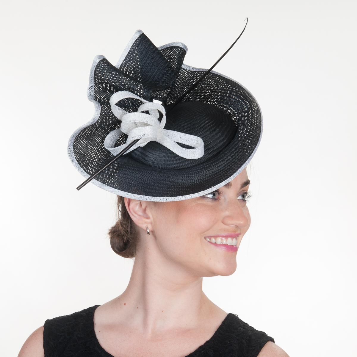 Black White Buntal Straw Elastic Fascinator Cocktail Hats