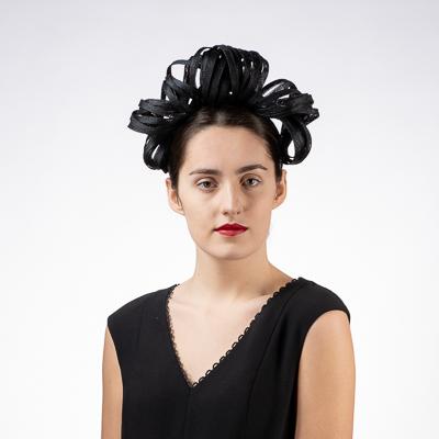Black Princess Leia Sinamay Headband Fascinator Cocktail Hats 102054
