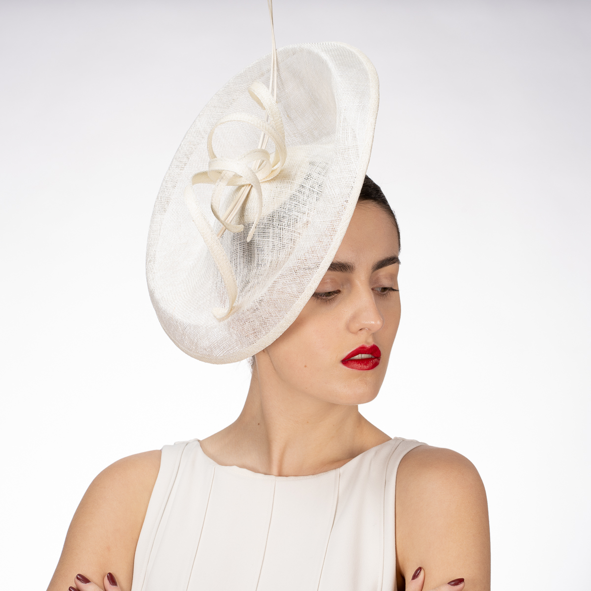 6a0353599c390 White Twist Ribbon Saucer Sinamay Headband Fascinator Cocktail  Hats-102057-WT- Sun Yorkos | KaKyCo Accessories