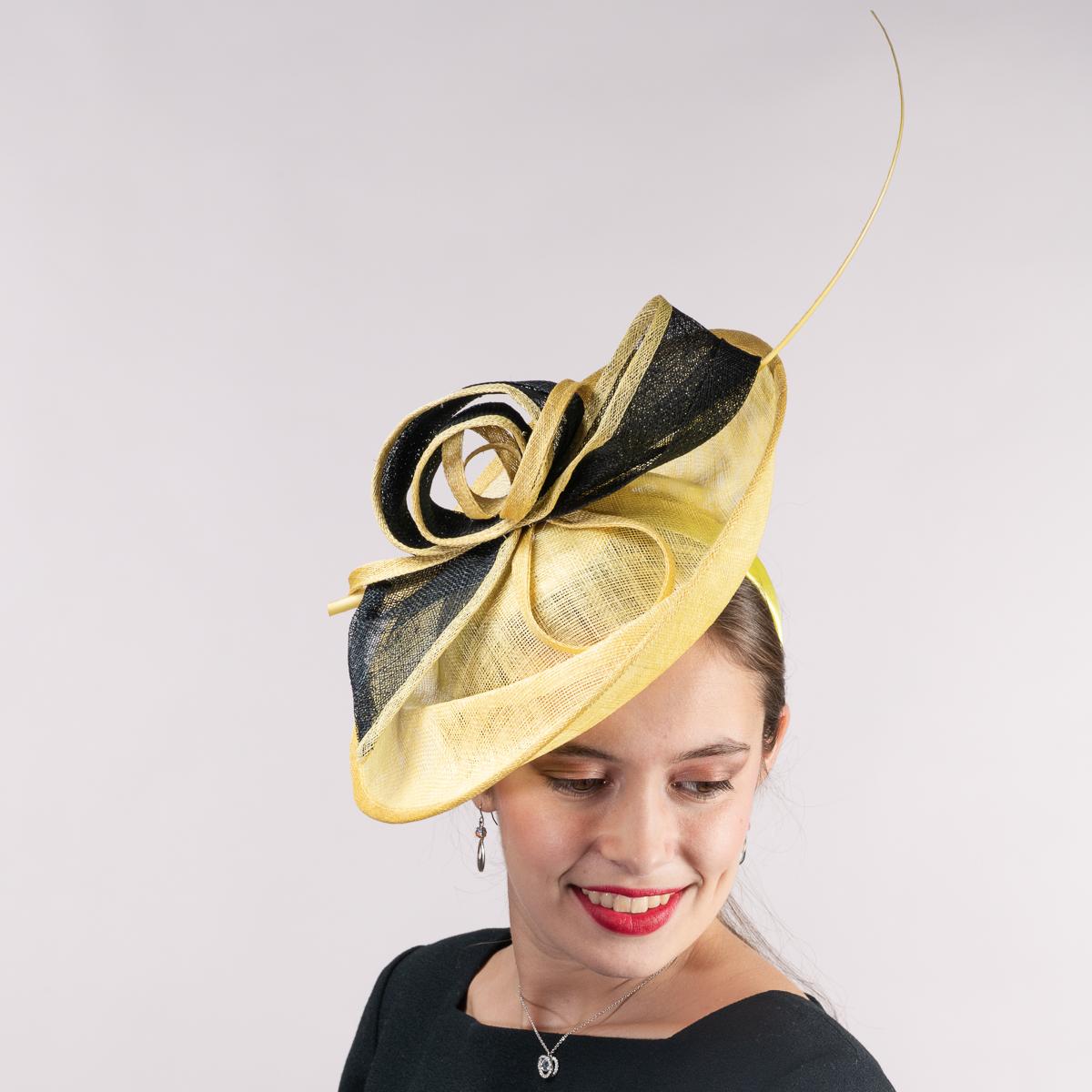 Yellow Black 2 Tone Sinamary Headband Fascinator Tail Hats