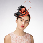 Black Red polyhemp Sinamay Disc Headband Fascinator Cocktail Hats