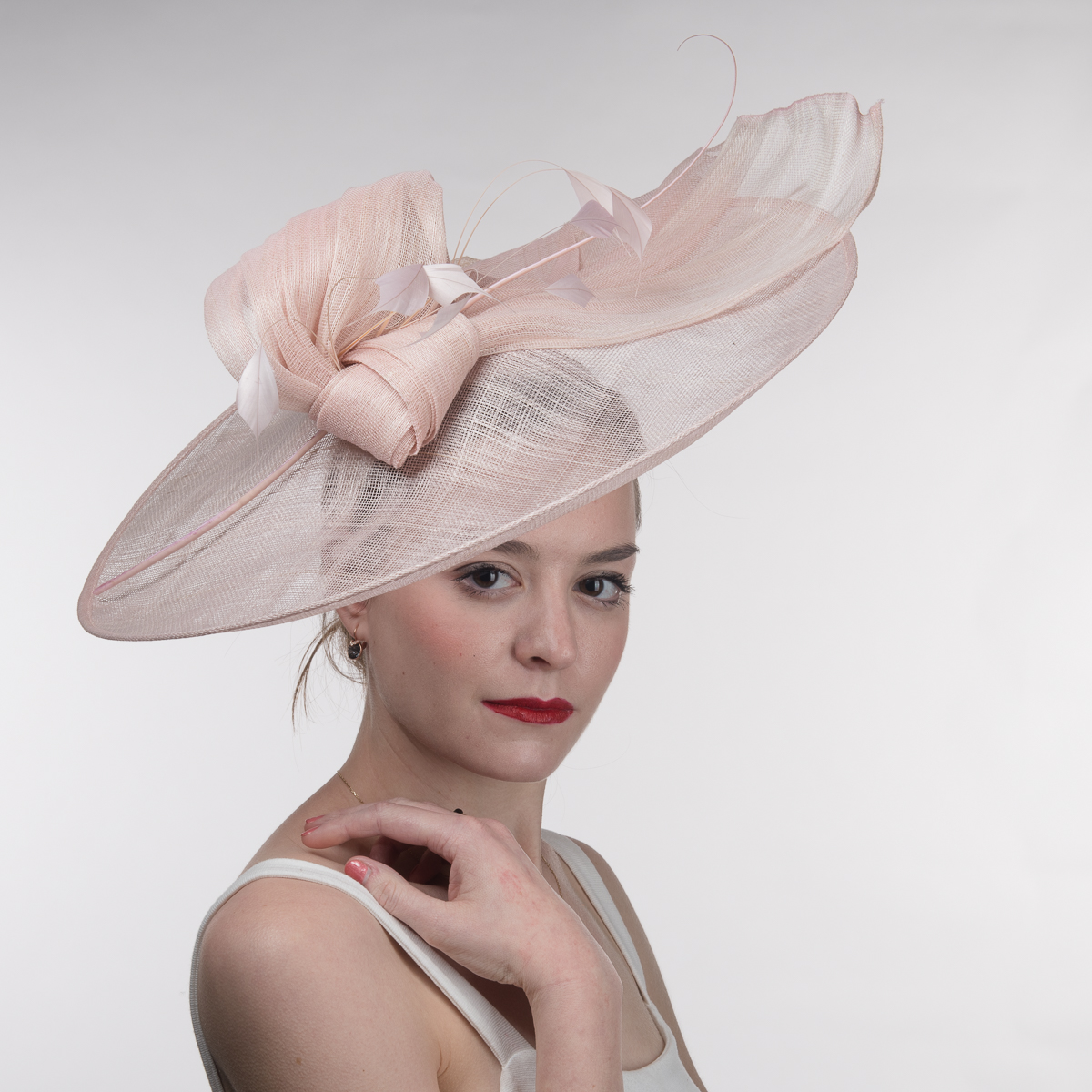 Pale Pink Bow Saucer Headband Fascinator Cocktail Hats-102063-PPK- Sun  Yorkos  d11ca6e4912