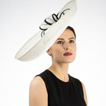 White / Black Saucer Sinamay Headband Fascinator Cocktail Hats