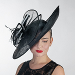 Black / White Large Saucer Sinamay Headband Fascinator Cocktail Hats