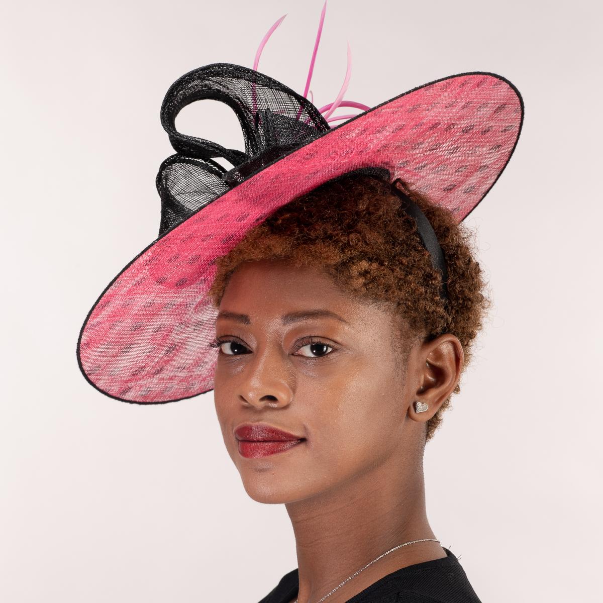 caea5b44938 Black - Hot Pink Sinamay Headband Fascinator Cocktail Hats