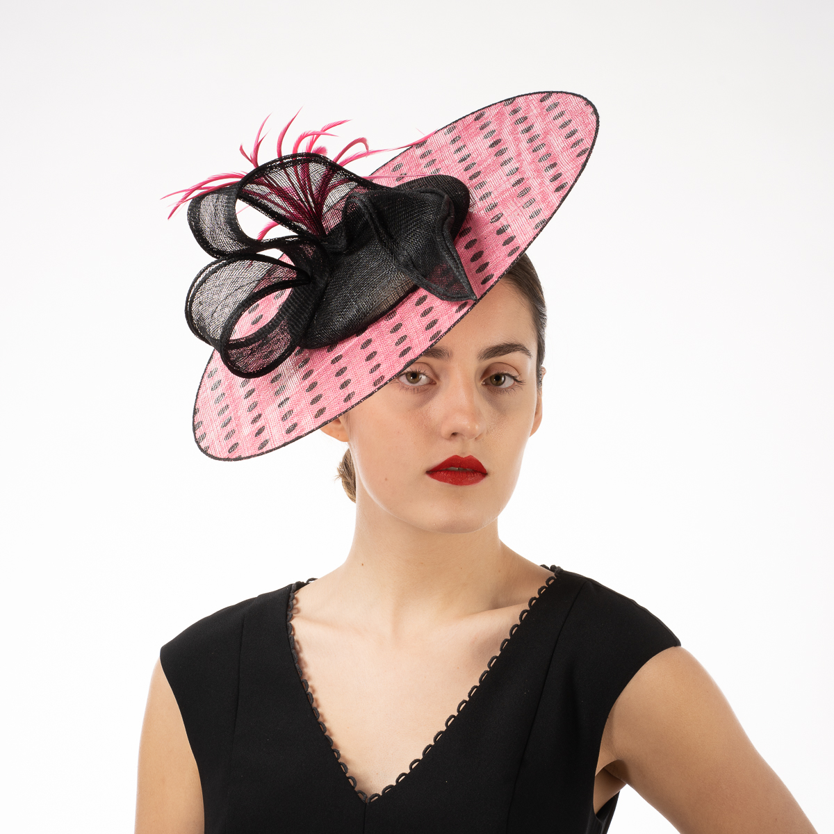 5d3e6d2719e9e Black - Hot Pink Sinamay Headband Fascinator Cocktail Hats - Sun Yorkos