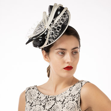 Polka Dow Bow Veil Sinamay Disk Headband Fascinator Cocktail Hats