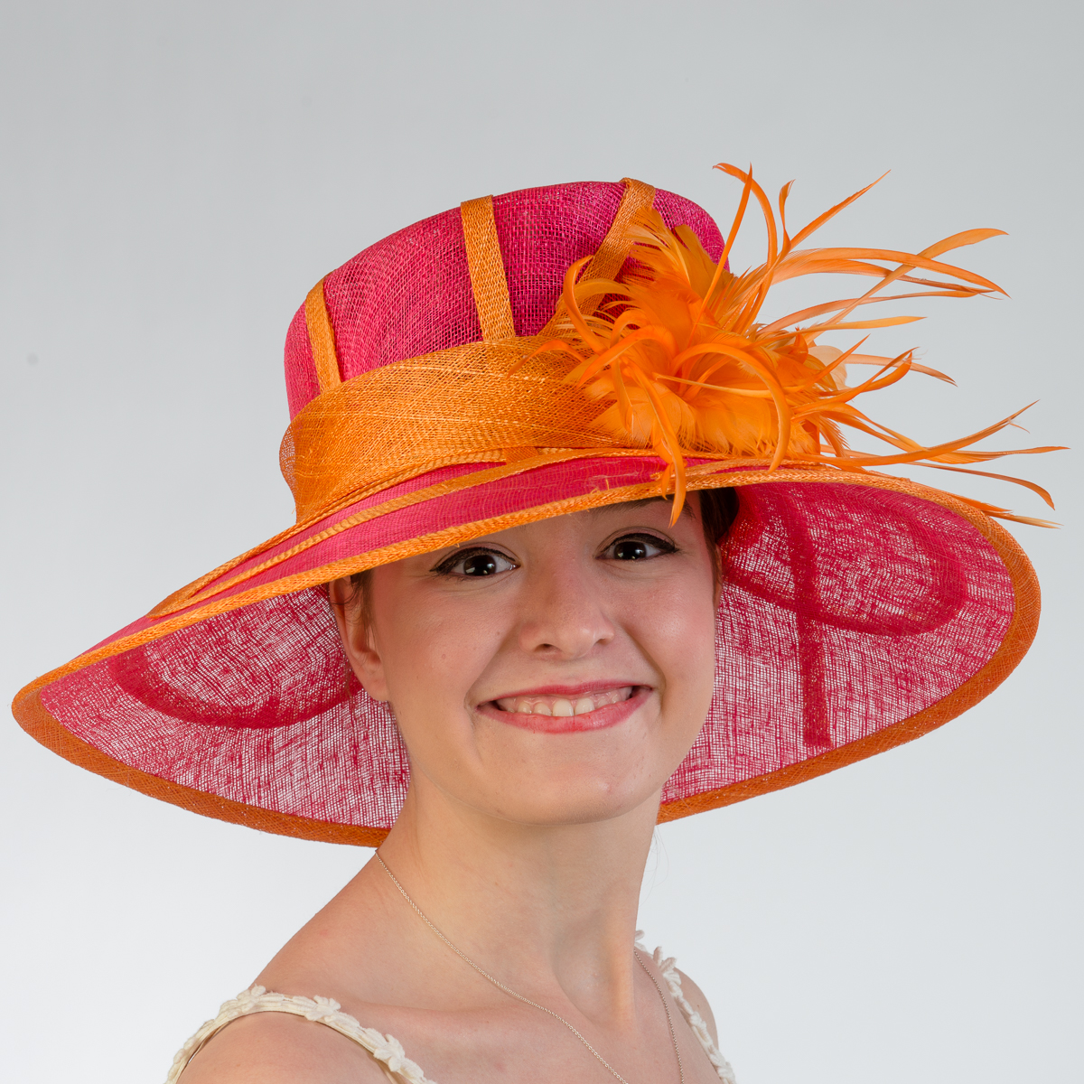 Fuchsia - Orange Large Brim Side Sweep Feather Flower And Bow Hats-102532-FUOR-  Sun Yorkos  f497ea675d72