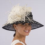 Large Brim Dot Print Flower Feather Bow Hats