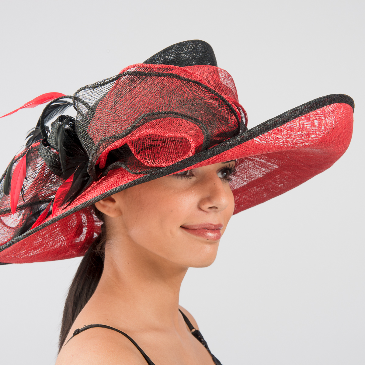 Black Red Large Sweep Bow Sinamay Hats 102554 Bk Rd Sun