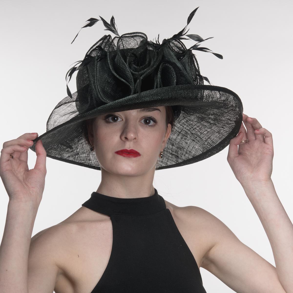 ca1d219c8747f Black Large Kettle Edge Sinamay Hat-102573-BK- Sun Yorkos