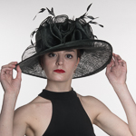 d67829f7898b7 Black Large Kettle Edge Sinamay Hat
