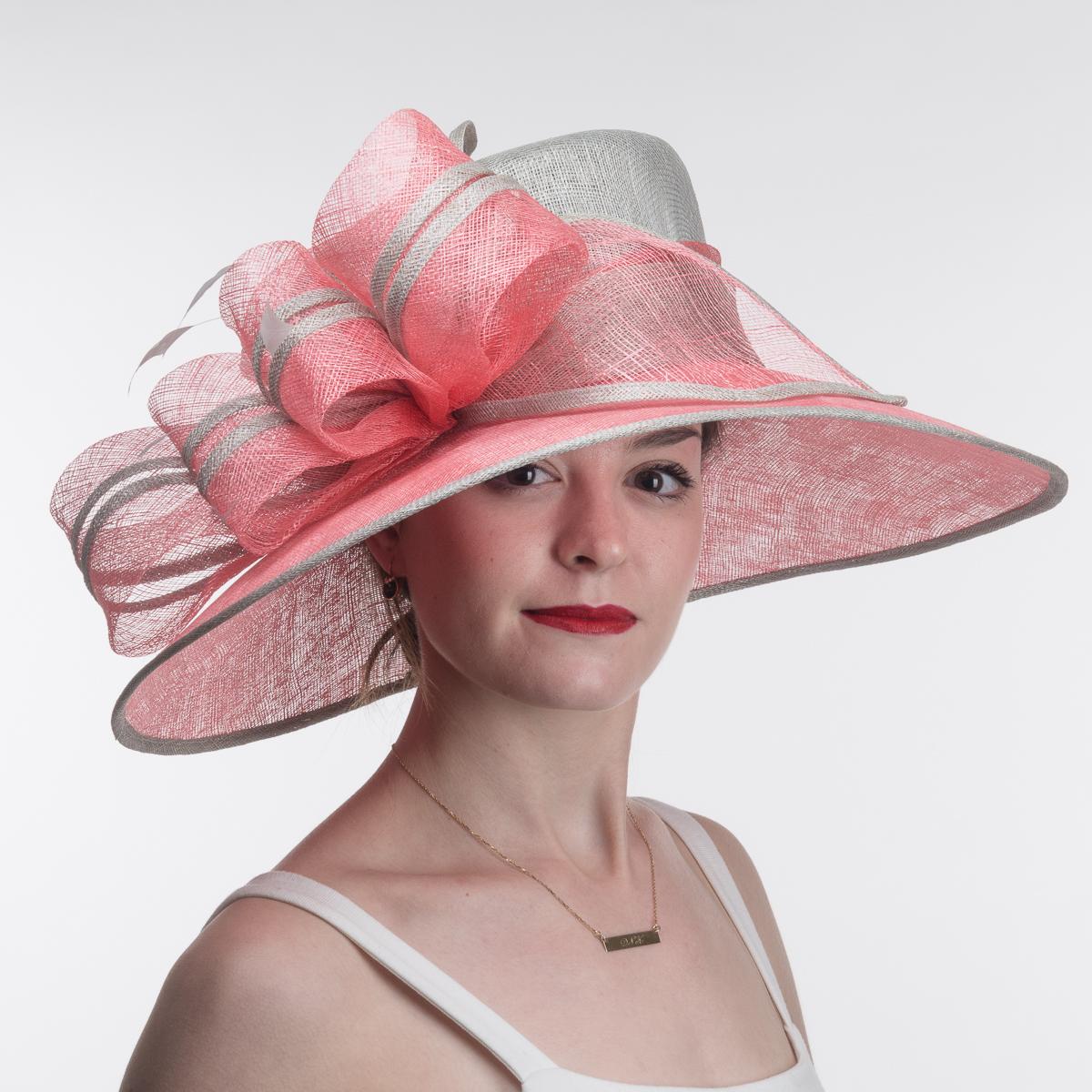 Silver Flamingo Wide Brim Two Tone Sinamay Hats 102574