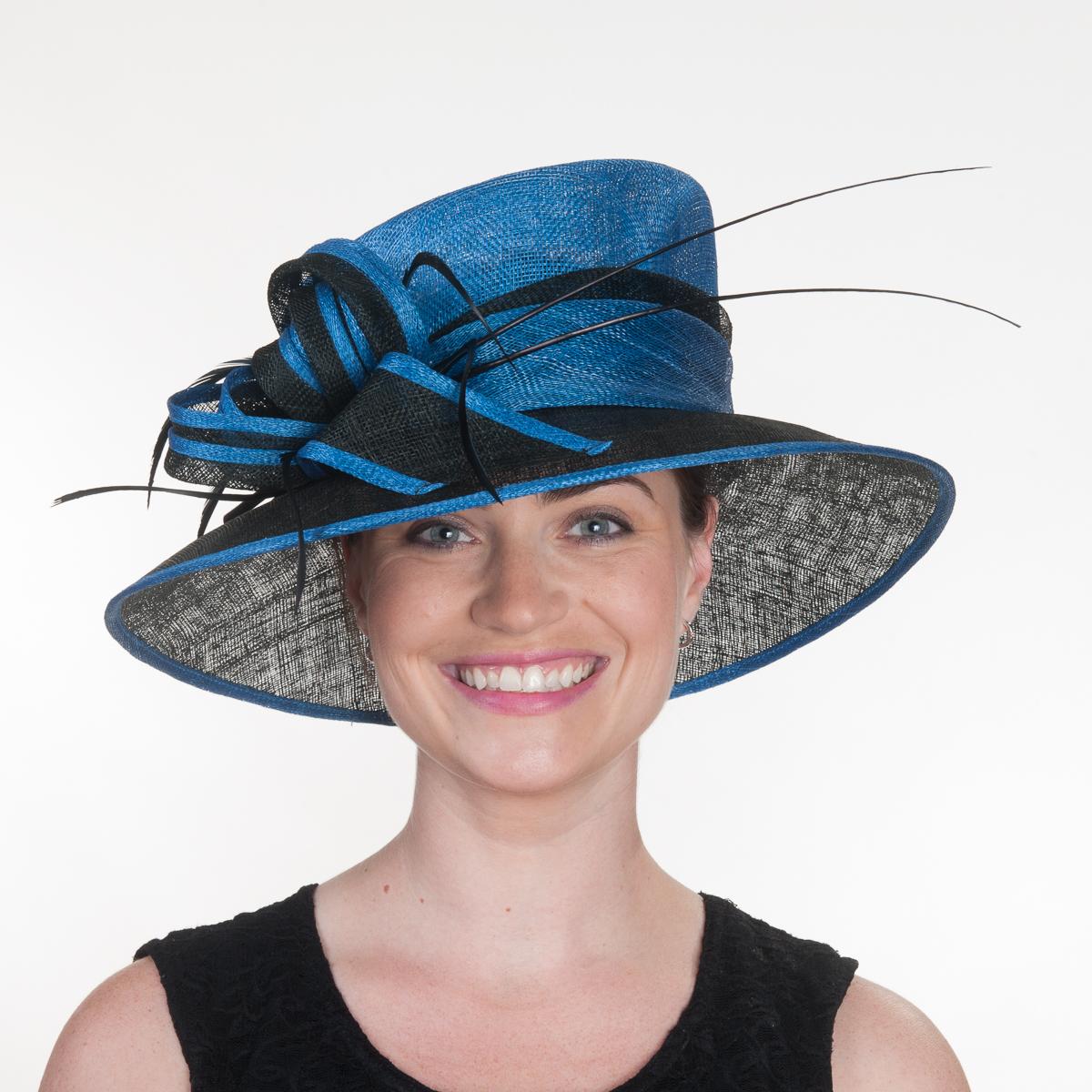 Royal Black Two Tone Bow Sailor Sinamay Hats 102577 Ry