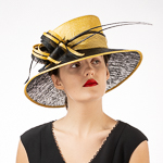 f310d9a567009 Yellow Black Two Tone Bow Sailor Sinamay Hats