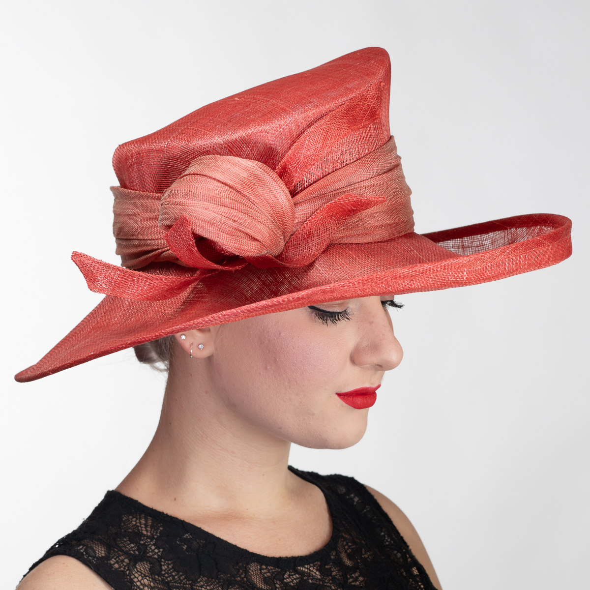 Coral Sculpture Polyhemp Trim Side Sweep Medium Sinamay Hats-102580-CORAL-  Sun Yorkos  5016e623200