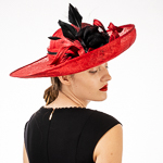 Feather Bow Upturned Sinamay Women's Hat