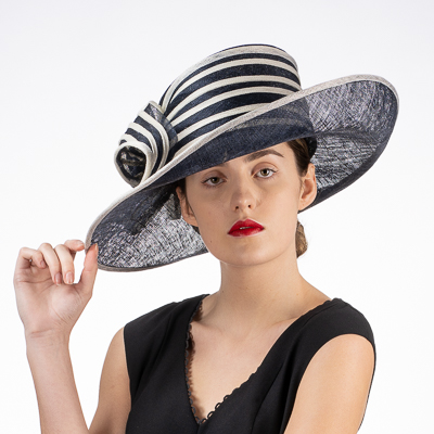 Striped Rose Trim Side Sweep Sinamay Hats