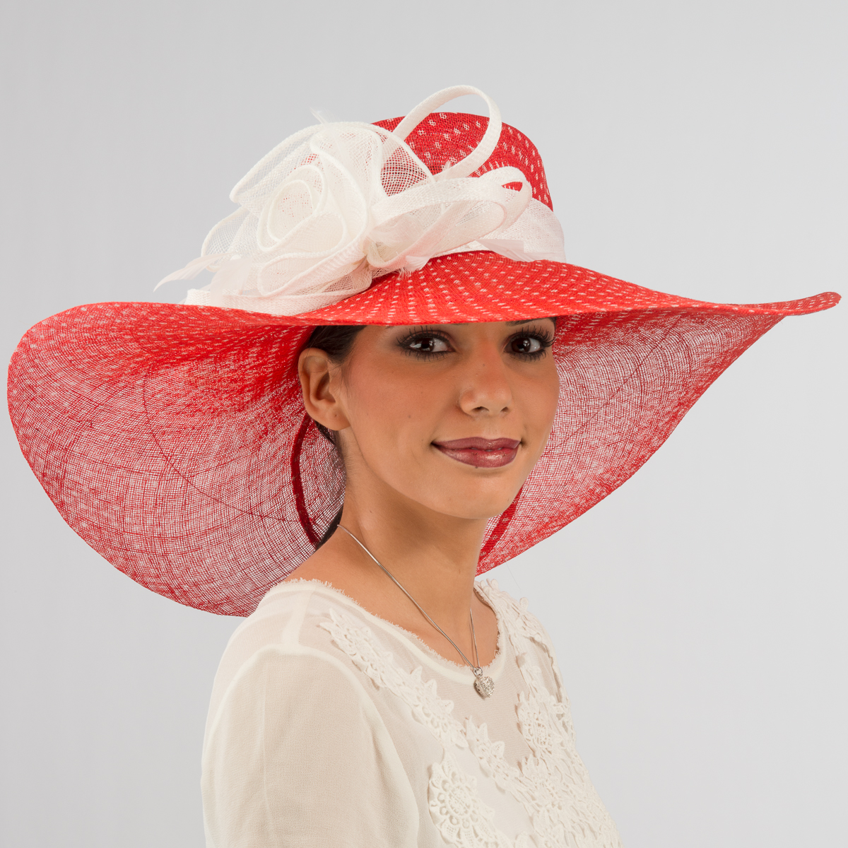 Red White Large Floppy Dot Sinamay Hat 112110 10 01 Sun