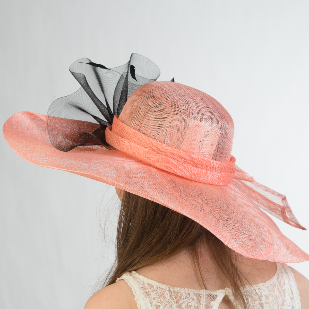 Bk Makeup Home: Peach-Bk Large Off Face Sinamay Hat-115078-38.12- Sun