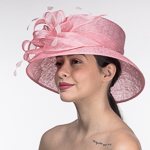 Pink Medium Brim Sinamay Dome Shape Hats