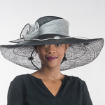 858826fef5963 Black Silver Callalily Adorned Wide Soft Sinamay Hats