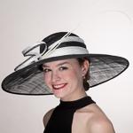 eef58c052fca1 Black   White 2 Tone Stripe Band Swinger Sinamay Hats