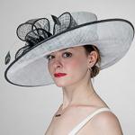 8b217b74a17ca White   Black Eyelet Bow Tie 2 Tone Off Face Sinamay Hats