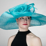 e67b0c411bc9f Turq Rose Veil Trim Off Face Floppy Sinamay Hats