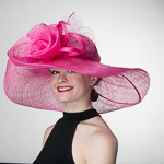 54617f288173c Fuchsia Rose Veil Trim Off Face Floppy Sinamay Hats