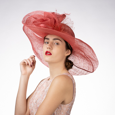 Rose Veil Trim Off Face Floppy Sinamay Hats