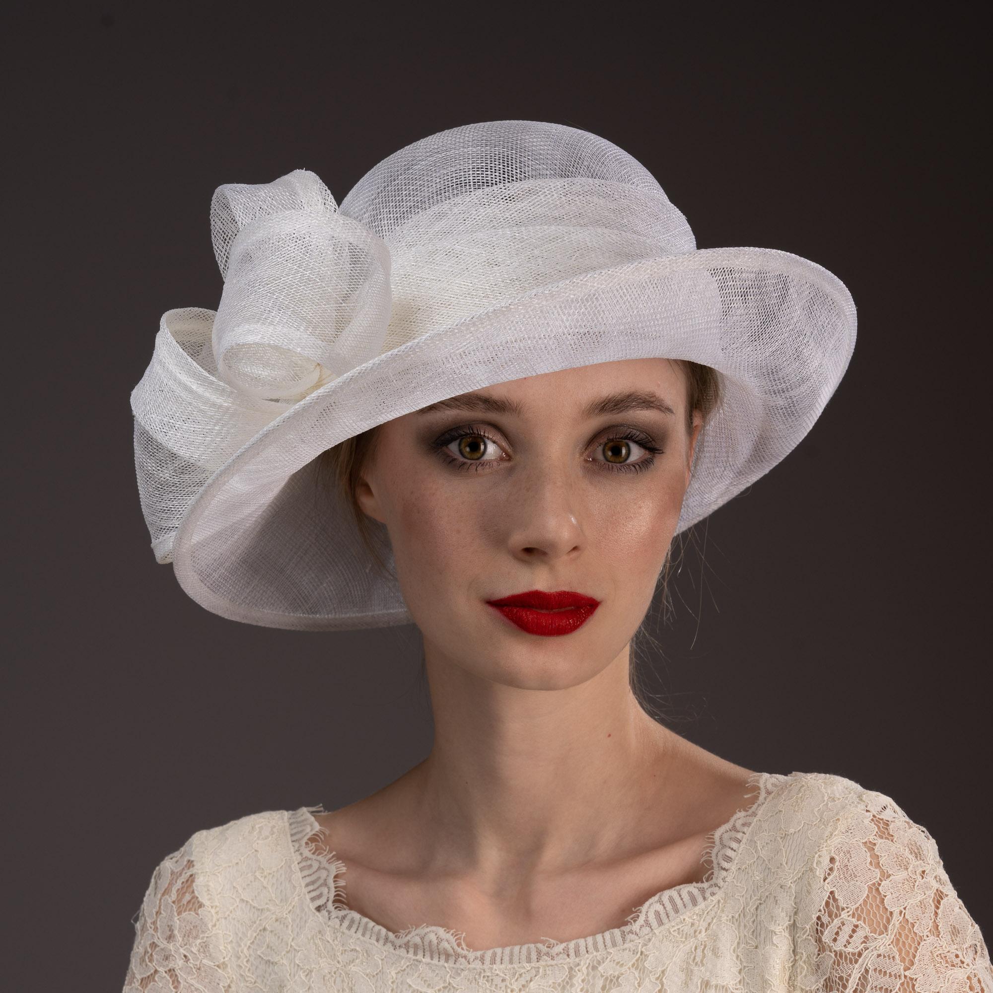White Short Brim Sidesweep Sinamay Dress Formal Hat
