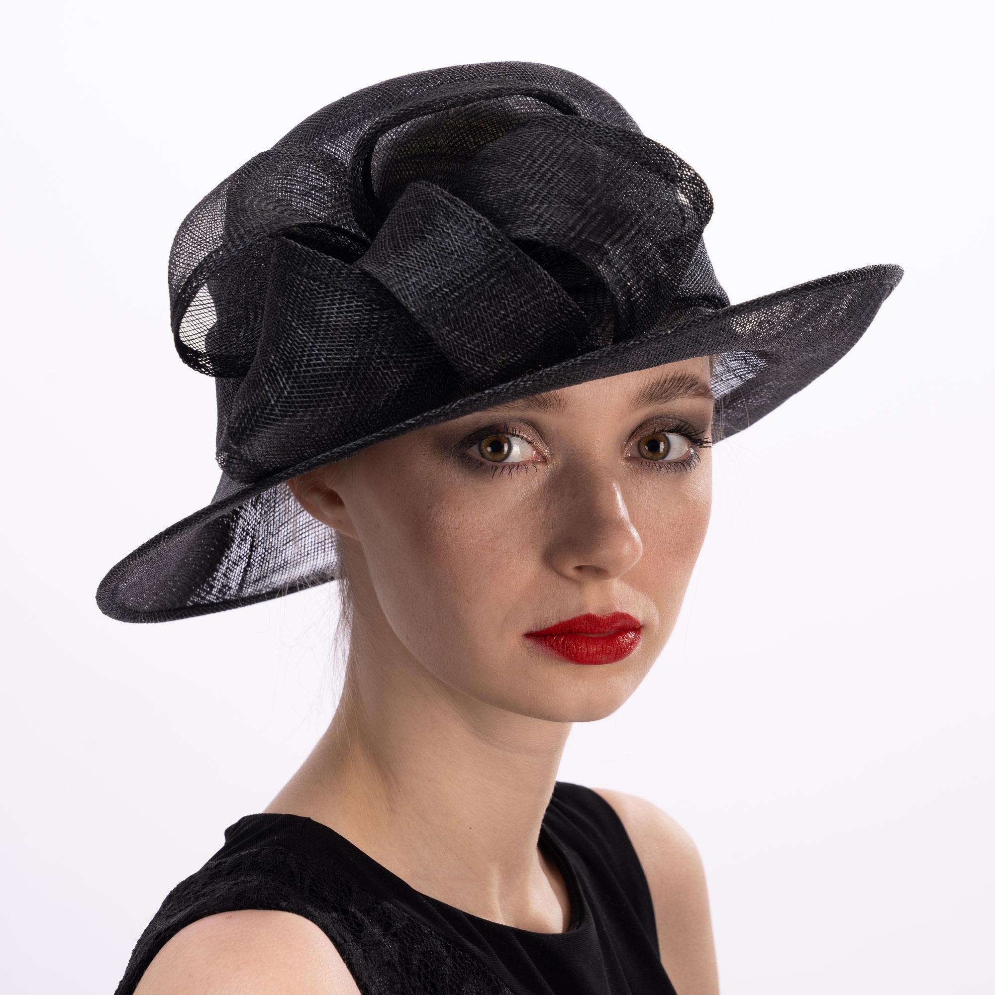 Black Short Brim Sidesweep Sinamay Dress Formal Hat
