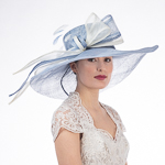 Long Bow Wide Brim Floppy Sinamay Hat