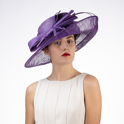 Wide Upswept Sinamay Dress Formal Hat