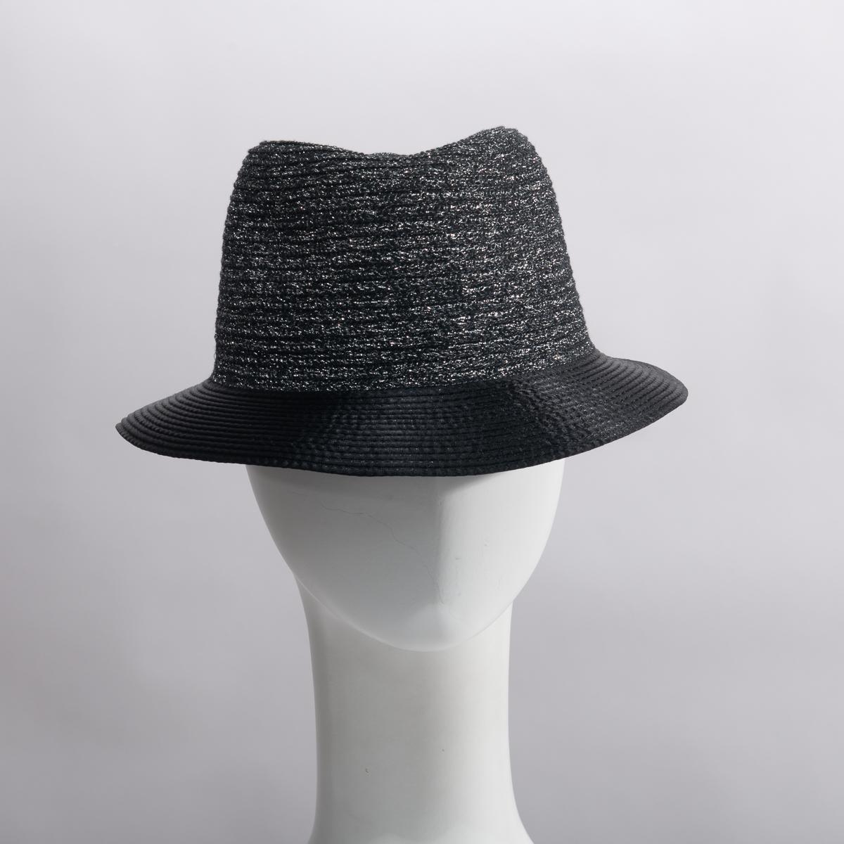 6b944cde43f5 Black Silver Metallic Stain Brim Fedora Hats - Sun Yorkos   KaKyco  Accessories