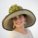 Olive Green And Brown Large Two-Tones Raffia Sun Hats