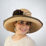 Natural And Brown Large Two-Tones Raffia Sun Hats