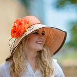 Orange And Brown Large Two-Tones Raffia Sun Hats