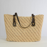 Natural And Brown Large Crochet Raffia Bag