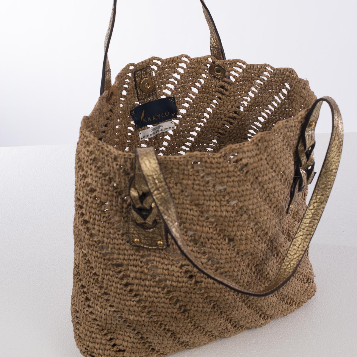 Honey And Gold Medium Crochet Raffia Bag