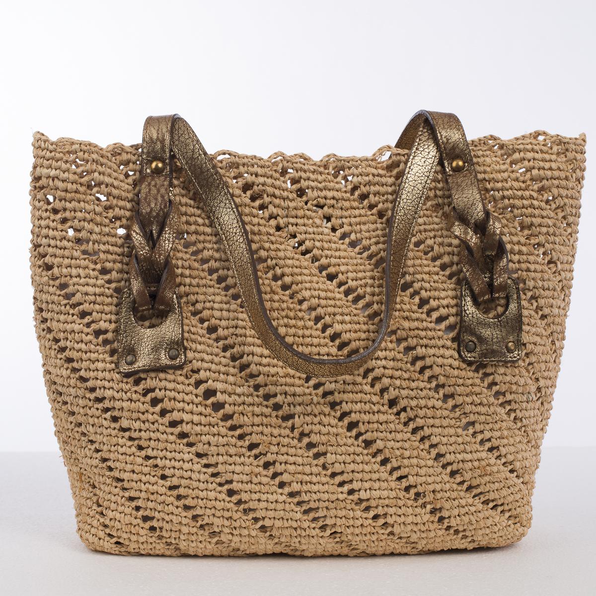 Natural And Gold Medium Crochet Raffia Bag 202002m Ng Sun