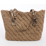 Honey And Gold Large Crochet Raffia Bag